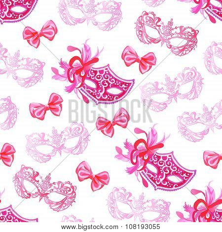 Masquerade Mask With Lace, Ribbons, Feathers And Bows Seamless Vector Pattern