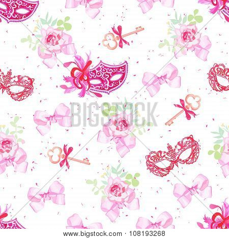 Bright Carnival Masks, Vintage Keys And Small Floral Bouquets With Bows Seamless Vector Pattern
