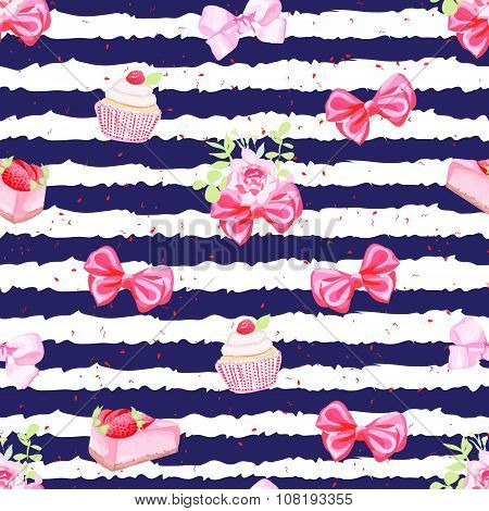 Navy Striped Seamless Vector Pattern With Fresh Pastries And Bows