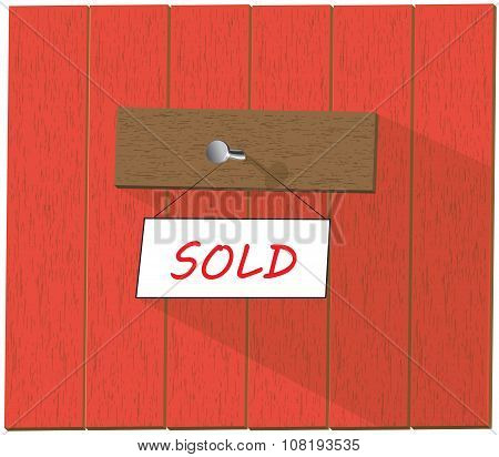 Vector Sign Saying Sold