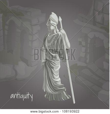 Cartoon image of ancient sculpture
