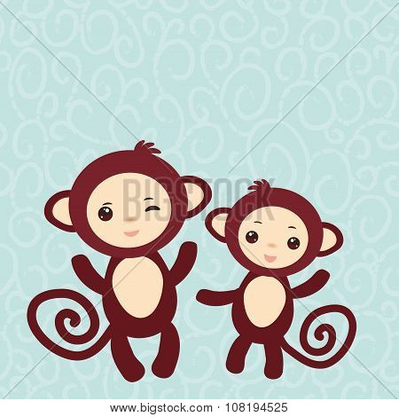 Set of funny brown monkey on light blue background. card for your text. Vector