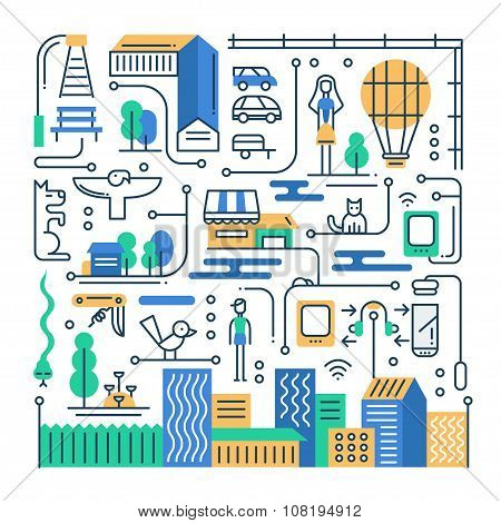 Illustration of modern line flat design city lifestyle composition with buildings, cityscape infogra