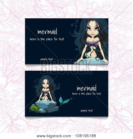 Two blue cards with mermaids and the text