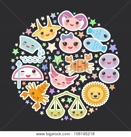 Funny Kawaii zodiac sign, astrological stiker set  virgo, aries, gemini, cancer, aquarius, taurus, l