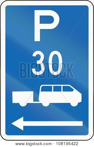 New Zealand Road Sign - Parking Zone For Shuttles With Time Limit, On The Left Of This Sign