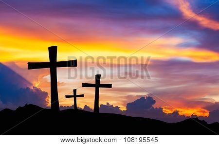 Cross Silhouette On Mountain With Twilight Sky.