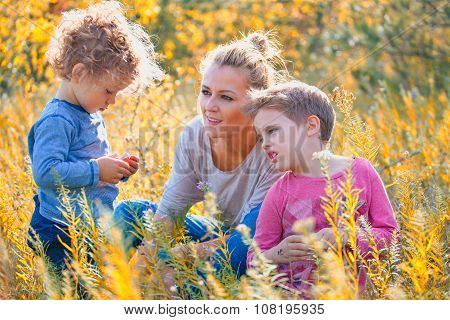 Mother With Children Outdoor