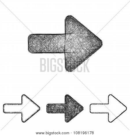Forward icon set - sketch line art