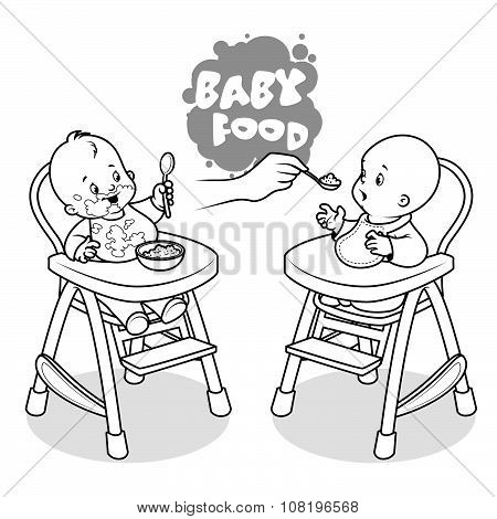 Two Kids In Baby Highchair With Plate Of Porridge.