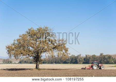 Farm Work, Harrowing Of A Field.