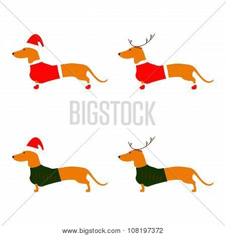Set Of Christmas Dachshunds