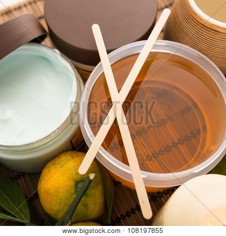 Set of cosmetic skin care in the beauty salon