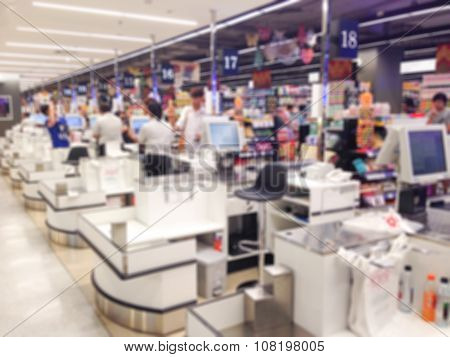 Blur Cashier Counter In The Supermarket