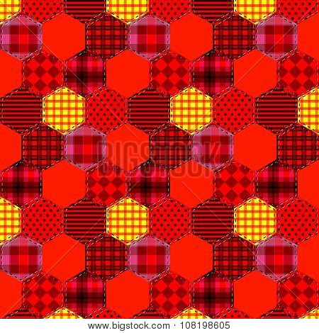 Seamless Pattern Patchwork Orange Fabrics Hexagon