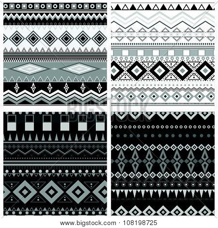Set Of Black And White Geometric Seamless Patterns