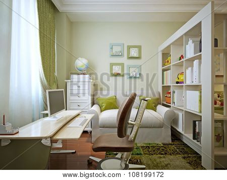 Modern Children's Room With Children's Table And Shelving.