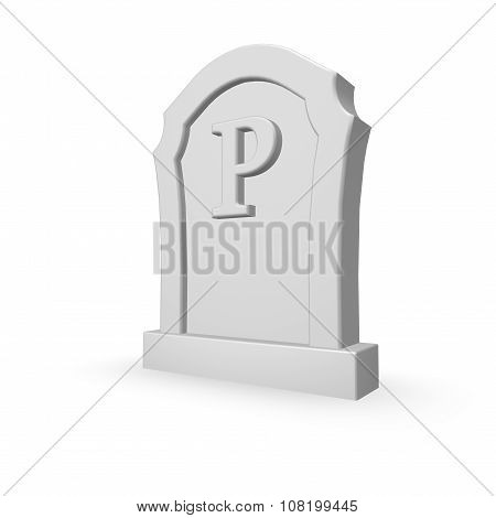 Gravestone With Letter P