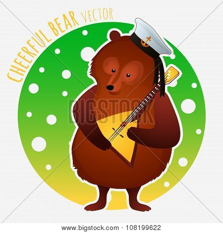 Sailor bear plays on the balalaika