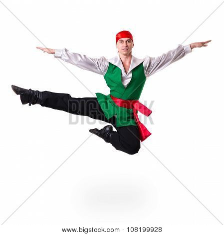 Jumping man wearing a pirate costume. Isolated on white in full length.