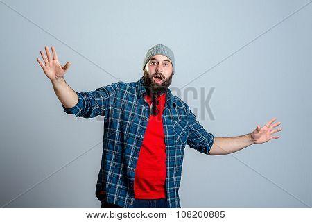 Young Bearded Man Lokking Amazed