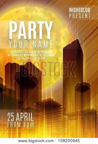 Night Party - Flyer or Cover Design. Background with full moon and night vector urban abstract illus