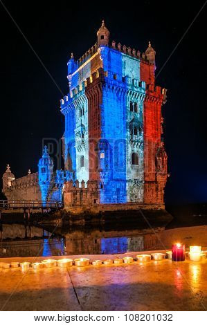 Belém Tower with the colors of the flag of France