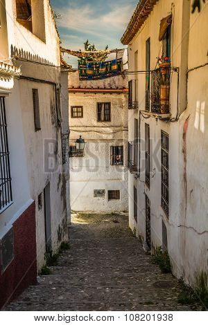 Traditional Spanish Architecture. Spanish Buildings, Houses, Street View, Traditional Street In Spai