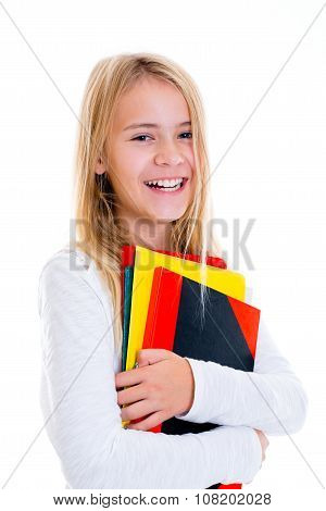Laughing Girl With Exercise Books