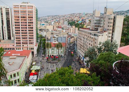 VALPARAISO - NOVEMBER 07: Aerial view of districts of the protected UNESCO World Heritage Site of Valparaiso on November 7 2015 in Valparaiso Chile