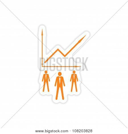 stylish sticker on paper Businessmen and schedule
