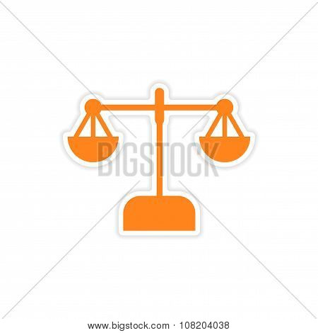 stylish sticker on paper scales on white background
