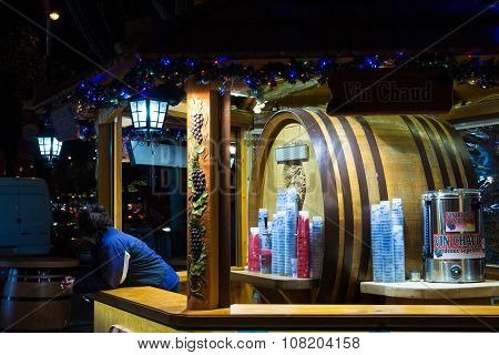 The Booth Of Mulled Wine On Christmas Market, Paris, France.