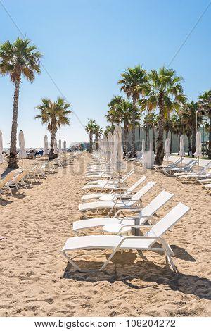 Beach in the Barcelona district Barceloneta
