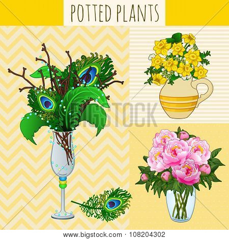 Three floral composition in vases