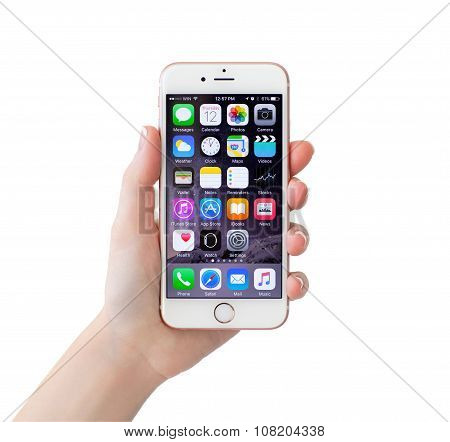Isolated Woman Hand Holding Iphone 6S Rose Gold