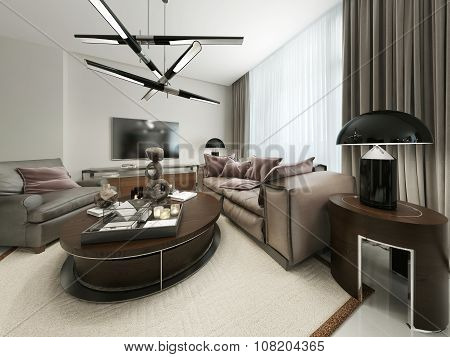 Modern Living Room With Seating And Media Storage.