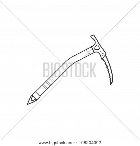 Outline Alpinism Equipment Ice Axe Device Icon Illustration.