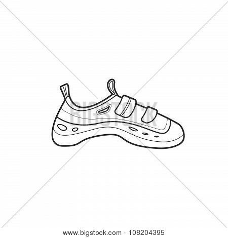 Outline Alpinism Equipment Shoes Icon Illustration.