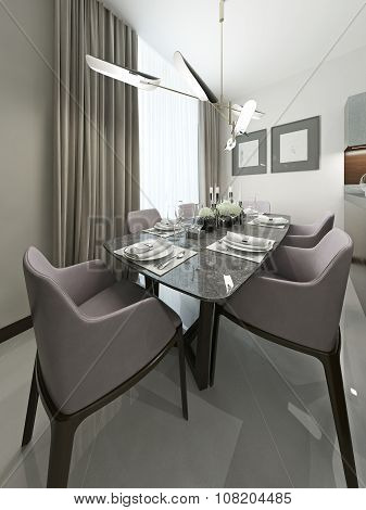Serving Table In The Dining Room With Soft Chairs.