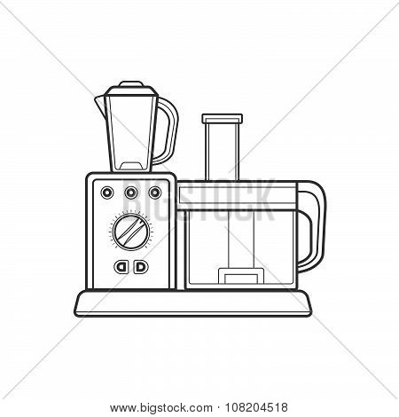 Outline Kitchen Food Processor Illustration.