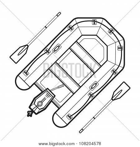Outline Inflatable Boat Illustration.