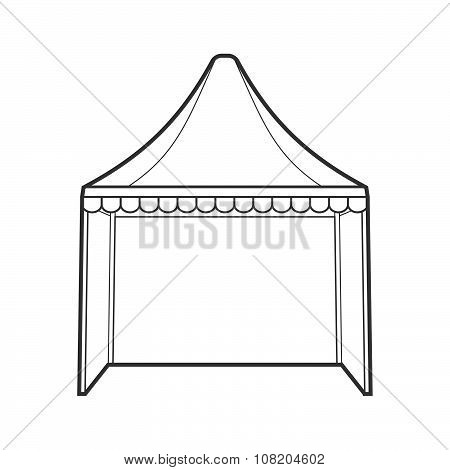 Outline Folding Tent Marquee Illustration.