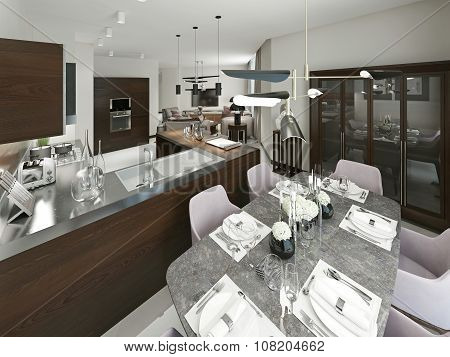 Modern Dining Room And Kitchen.