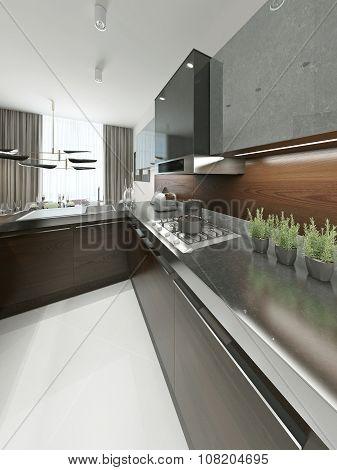 Modern Kitchen With Metal Worktop.