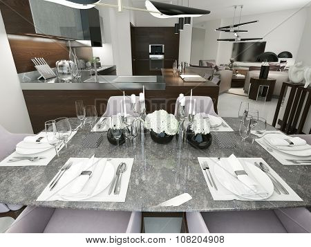 Luxury Serving Table With Marble Top.