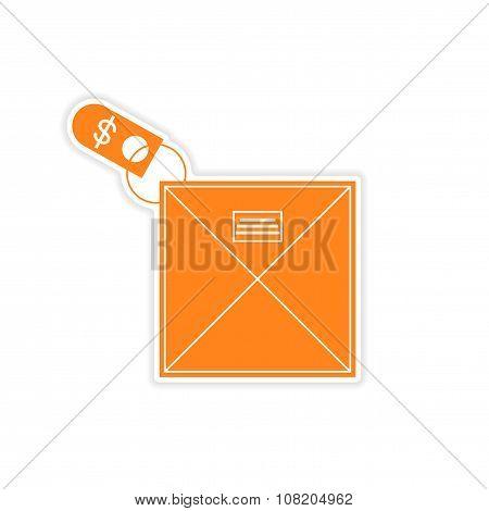 stylish sticker on paper envelope and money