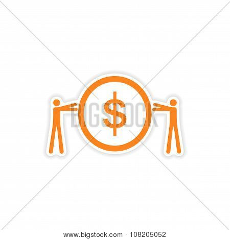 stylish sticker on paper People and coins