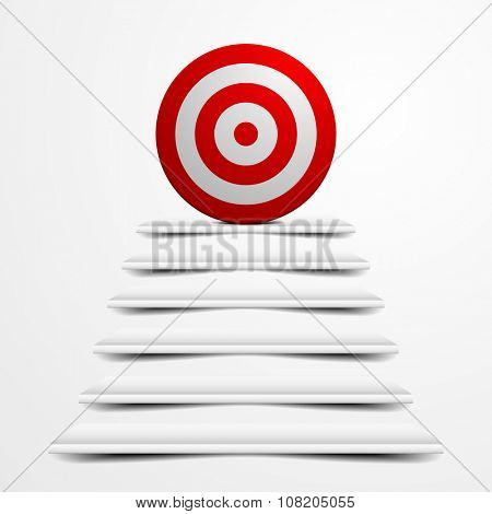 detailed illustration of a target on top of white stairs, eps10 vector