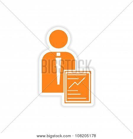 stylish sticker on paper businessman and economic report